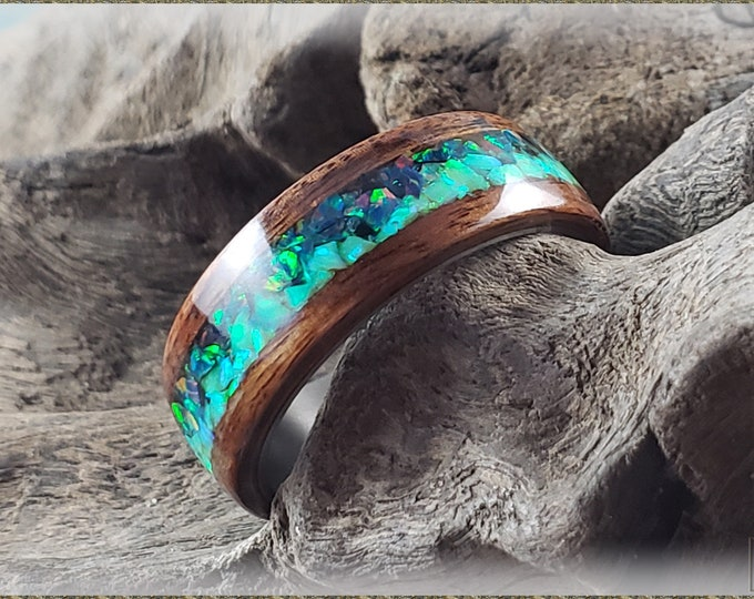 Aurora Bentwood Ring - Santos Rosewood w/Opal Blend inlay, on titanium ring core