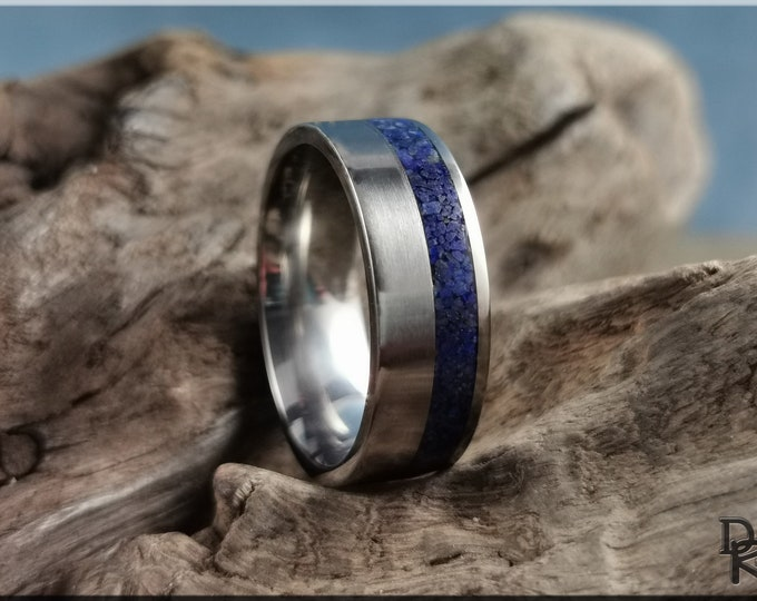 Titanium Offset 8mm Channel Ring w/Lapis Lazuli Stone inlay