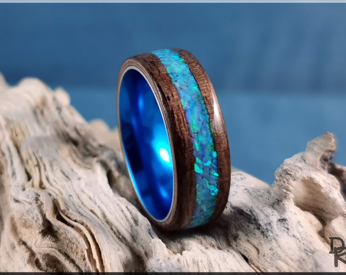 Bentwood Ring - Curly Black Walnut w/Azure Opal inlay, on Cobalt Flash Anodized  ring core