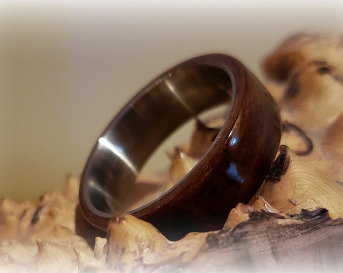 Bentwood Ring - Granadillo - titanium ring core.