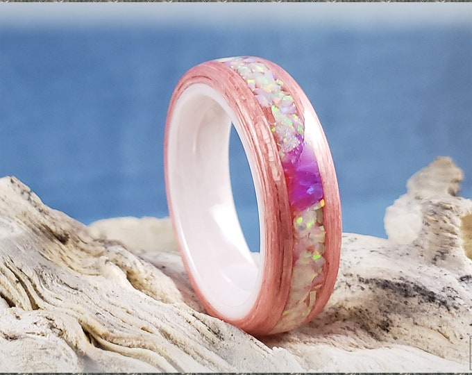 Bentwood Ring - Strawberry Koto w/Fire and Snow and Orchid opal chunk inlay, on polished white ceramic ring core