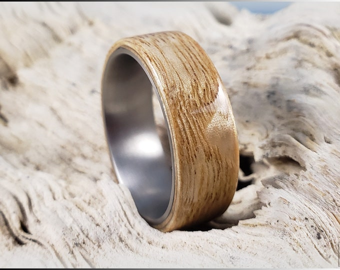 Bentwood Ring - Japanese Tamo Ash on titanium ring core - Wood Ring