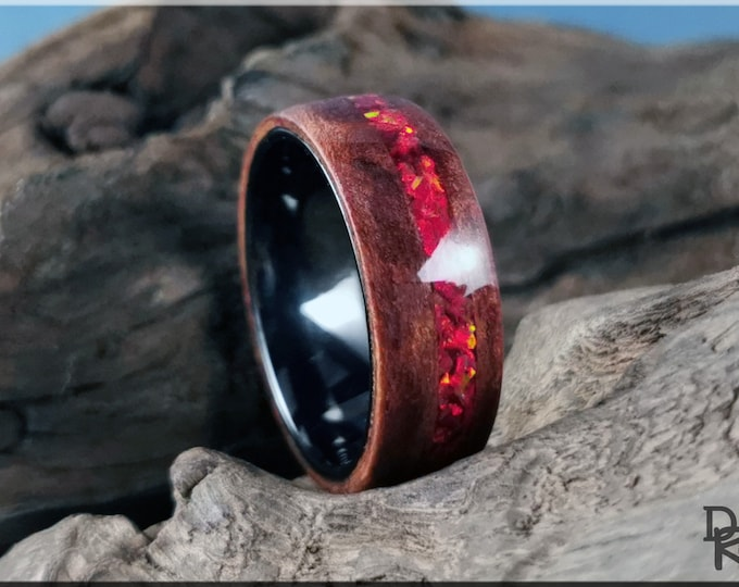 Bentwood Ring - Redwood Burl w/offset Ruby Fire Opal inlay, on Polished Black Ceramic ring core - Wood Ring