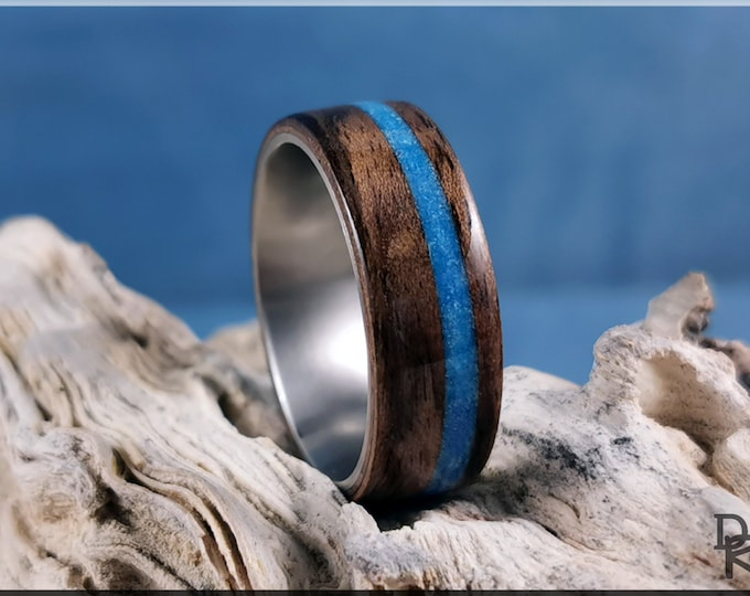 Bentwood Ring - Rustic French Walnut with offset Turquoise Blue Glow, on Titanium ring core