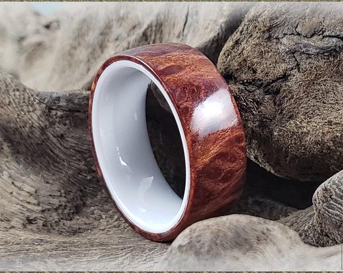 Bentwood Ring - Redwood Burl on polished white ceramic ring core