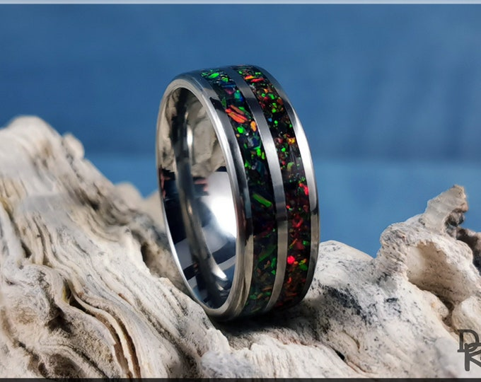 Titanium 8mm Dual-Channel Ring w/Opal inlay