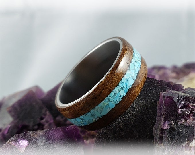 Bentwood Ring - Black Walnut Burl w/Sleeping Beauty Turquoise inlay on titanium ring core
