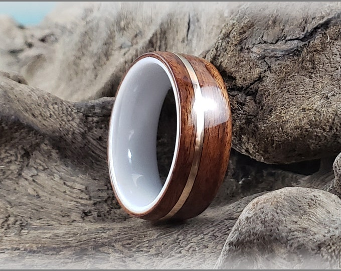 Bentwood Ring - Santos Rosewood w/offset Bronze wire inlay, on polished white ceramic ring core
