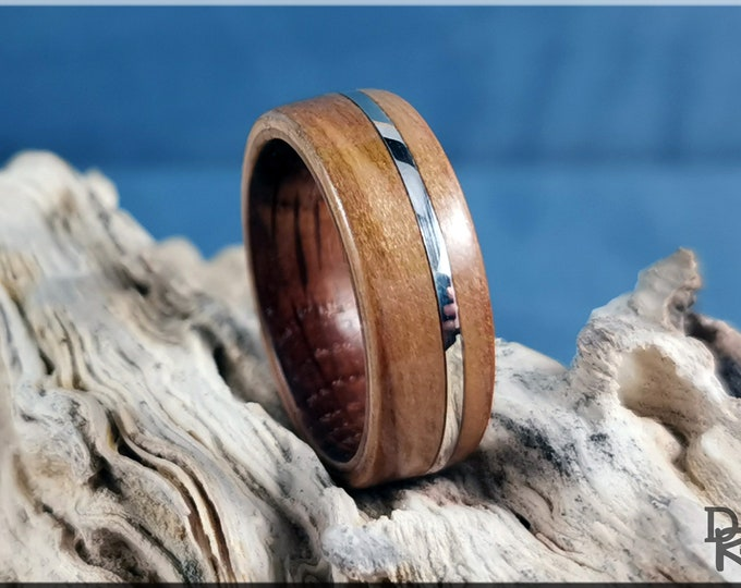 Bentwood Ring - American Sweetgum w/offset 925 Sterling Silver inlay, on Ironwood core
