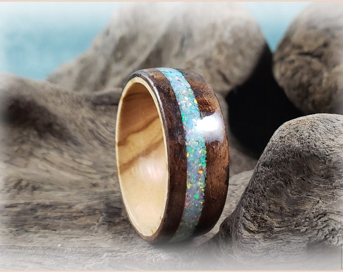 Bentwood Ring - Black Walnut Burl w/Cornflower Blue Opal inlay, on Olivewood core