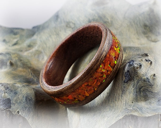 Bentwood Ring - French Walnut w/Mexico opal inlay, Rosewood ring core.