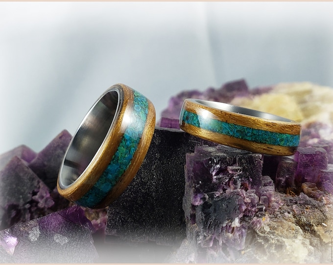 Bentwood Ring Set - 'INDIGO SANCTUARY' - Ovangkol w/Dark Chrysocolla stone inlays, on titanium ring cores
