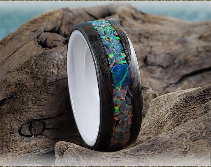 Bentwood Ring - Graphite Sycamore w/Blue-Grey and Deep Teal chunk opal inlay, on white ceramic ring core