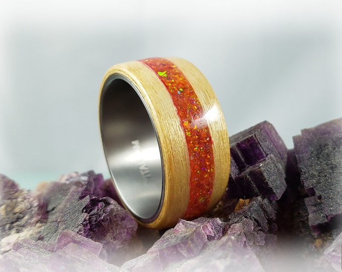 Bentwood Ring - Swiss Aspen w\Mexico Fire Opal inlay, on titanium ring core