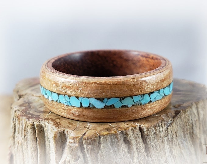 Bentwood Ring - Brownheart w/Sleeping Beauty Turquoise inlay on Rosewood ring core