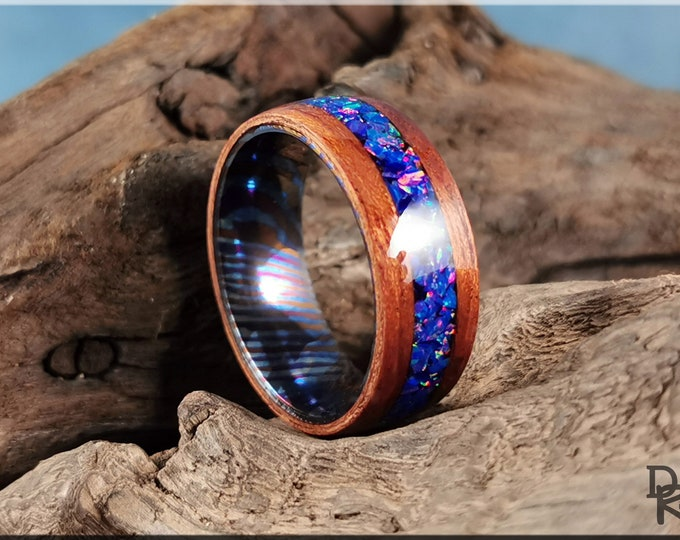 Bentwood Ring - Tineo w/Starry Night Opal inlay, on Timascus core - Wood Ring