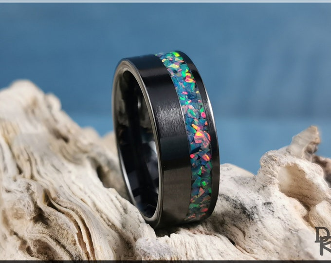 Black Ceramic 8mm Offset Channel Ring w/Multi Teal Opal inlay