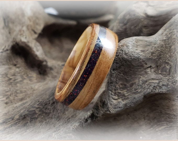 Bentwood Ring - Rift Cut Black Cherry w/Black Fire opal inlay, on Olivewood ring core