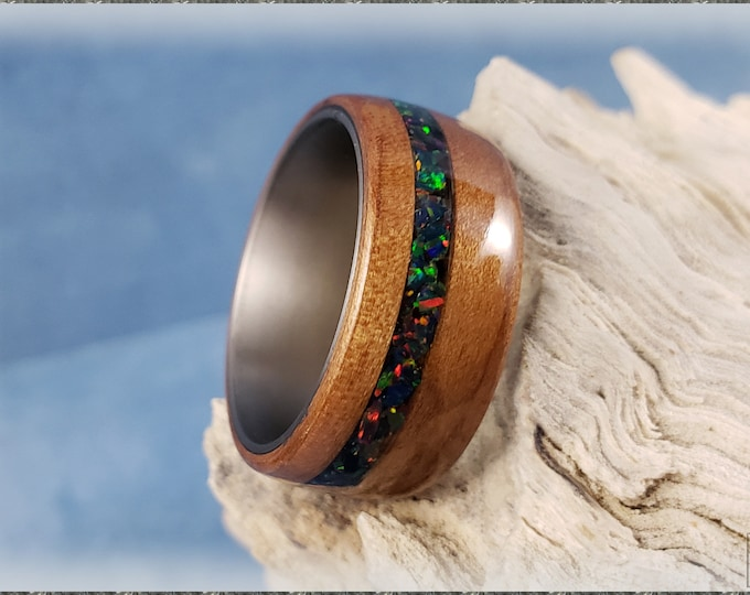 Bentwood Ring - Curly Cherry w/Space Fire opal inlay, on titanium ring core