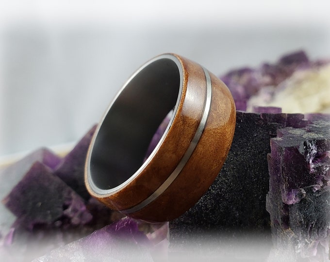 Bentwood Ring - Madrona Burl w/offset silver inlay on titanium ring core