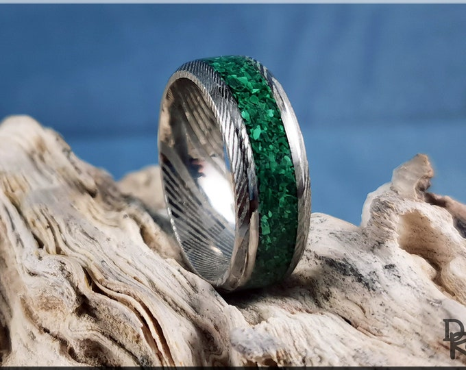 Genuine Damascus Steel Channel Ring w/Green Malachite Stone inlay