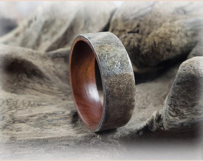 Bentwood Ring - Genuine 'Autumn Sky' Slate on Ironwood ring core