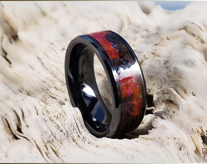 Black Ceramic 8mm Channel Ring w/Hematite and Opal Glow inlay