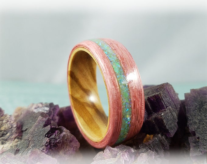 Bentwood Ring - Strawberry Koto w/offset Honeydew opal inlay on Olivewood ring core