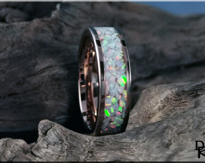 Rose Gold Plated Tungsten Carbide Channel Ring w/Aurora Opal inlay