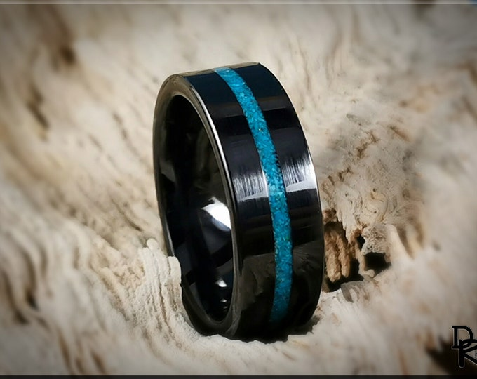 Black Ceramic Thin Line Channel Ring w/Rare Bisbee Turquoise inlay