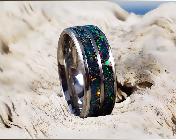 Dual-Channel 8mm Titanium Ring w/Space Blue Opal inlay