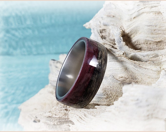 Dual Bentwood Ring - Harborica and Purpleheart on titanium ring core - Wood Ring