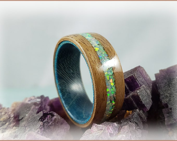 Bentwood Ring - Rustic French Walnut w/Moon Yellow Opal inlay, on Teal Box Elder ring core