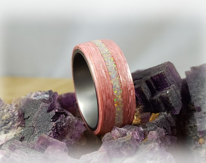 Bentwood Ring - Strawberry Koto w/White Fire opal inlay on titanium ring core