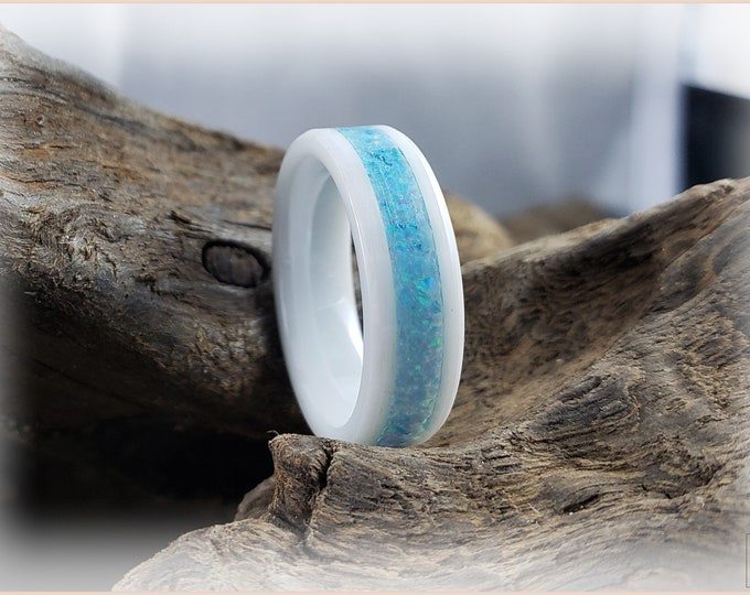 6mm White Ceramic Channel Ring w/Opal inlay