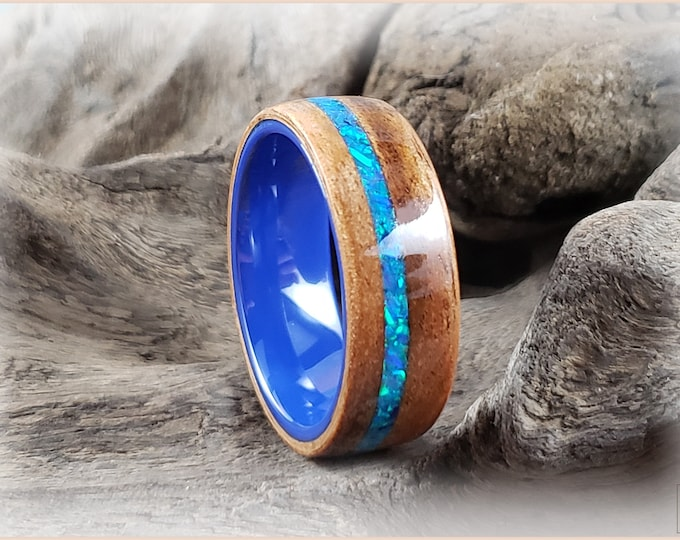 Bentwood Ring - Figured Camphor w/Sky Blue Opal inlay, on Cobalt Blue Ceramic core