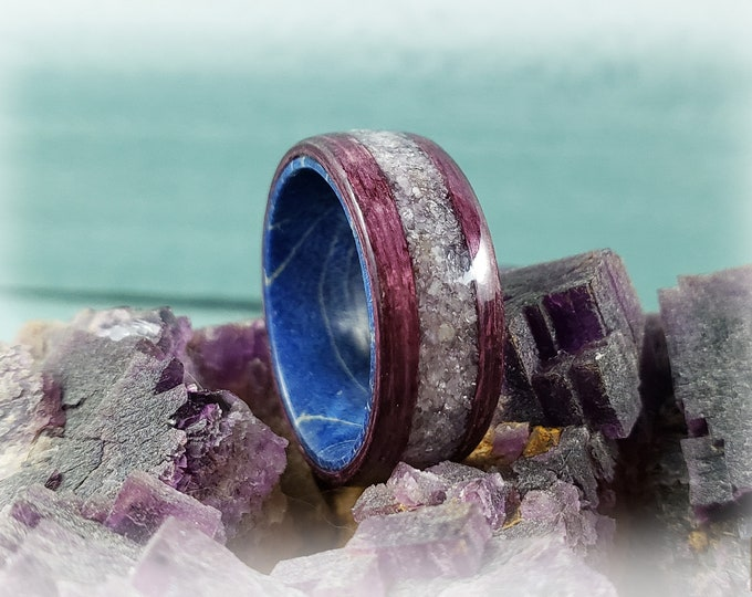 Bentwood Ring - Plum Koto w/wide Lavender Lepidolite stone inlay on Blue Box Elder ring core