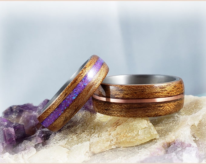 Bentwood Ring Set 'METAL ORCHID FUSION' - Figured Etimoe w/Copper and Opal inlays, on Titanium ring cores