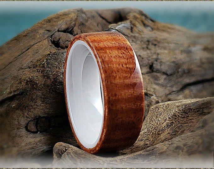 Bentwood Ring - Fiddleback Kotibe on Polished White Ceramic ring core