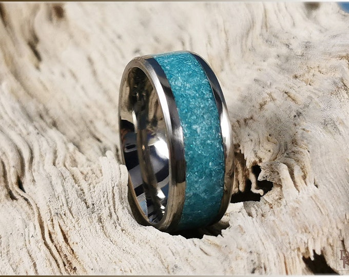 Titanium Channel Ring w/Aqua tinted Selenite Stone inlay