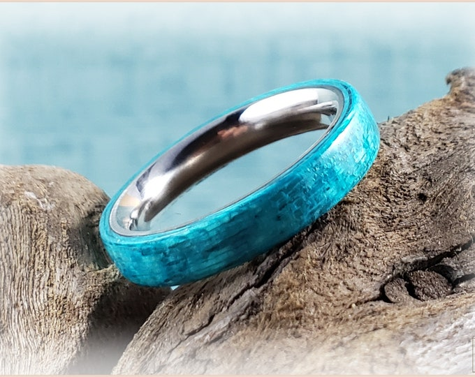 Bentwood Ring - Ocean Blue Koto on stainless steel core - Wood Ring