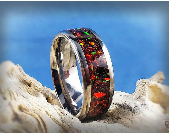 Titanium 8mm Channel Ring w/Opal inlay