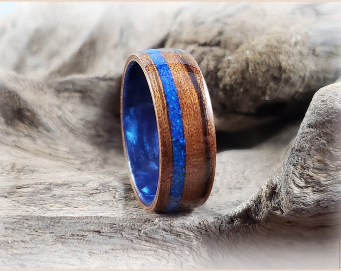 Bentwood Ring - Mangowood w/offset Sleepy Blue Opal inlay, on Cosmic Blue Celluloid core