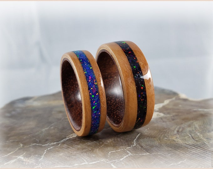Bentwood Ring Set - 'CHERRY DREAMS' - Black Cherry w/Opal inlays, on Rosewood ring cores