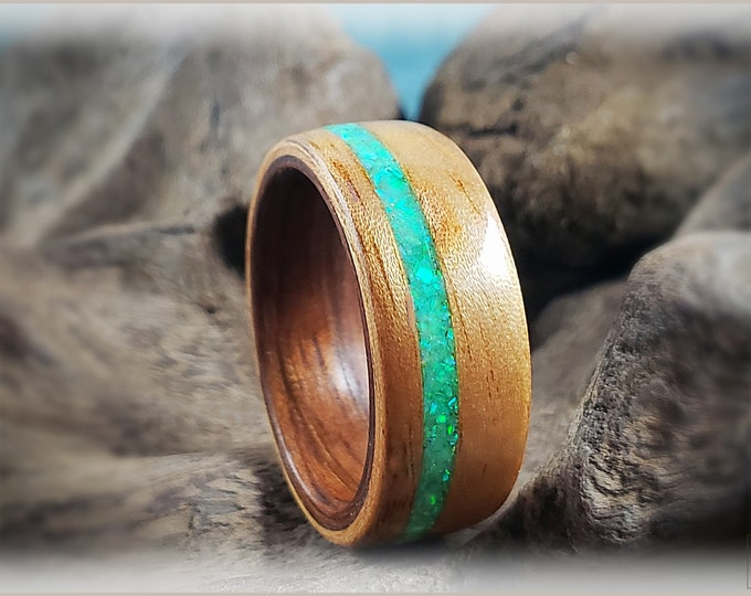 Dual Bentwood Ring - Figured Camphor w/offset Spring Bud Opal inlay, on Bentwood Mangowood ring core