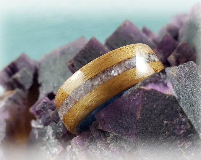 Bentwood Ring - Black Cherry w/Lavender Lepidolite stone inlay on Blue Box Elder ring core