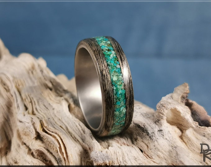 Bentwood Ring - Harborica w/Chrysocolla Stone inlay on titanium ring core