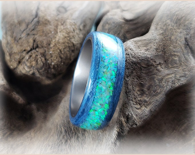 Bentwood Ring - Denim Blue Tulipwood w/Vanilla Opal inlay on titanium ring core