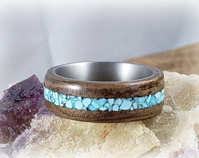 Bentwood Ring - French Walnut w/Sleeping Beauty Turquoise inlay, titanium ring core.
