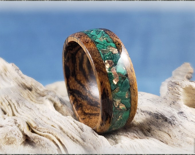 Bocote 8mm Wood Ring w/Green Malachite and Brass Flake Metal blend inlay